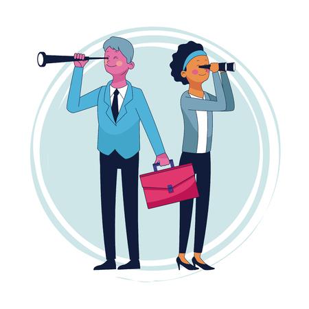 Hombre de negocios y mujer con maletín y telescopios ilustración vectorial diseño gráfico