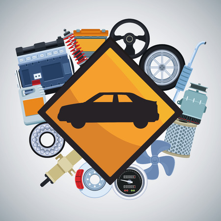 Car factory and parts with machinery vector illustration graphic design 向量圖像