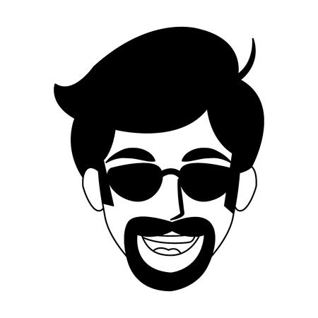 Diseño gráfico del ejemplo del vector de la historieta de la cara del hombre del disco Ilustración de vector