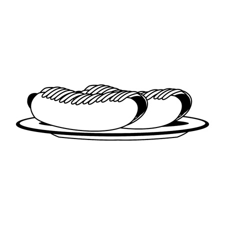 Hot dogs on dish vector illustration graphic design