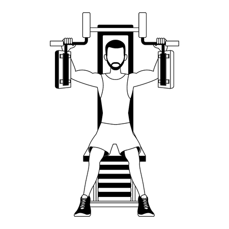 Fitness man on weight machine vector illustration graphic design