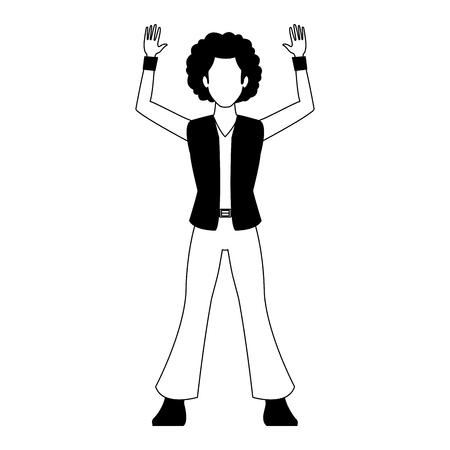 Disco man cartoon vector illustration graphic design