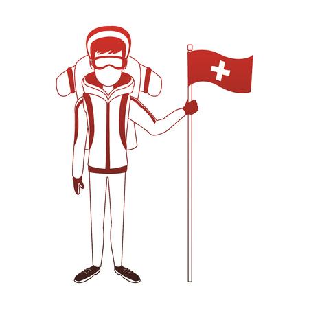 Alpinist man cartoon vector illustration graphic design