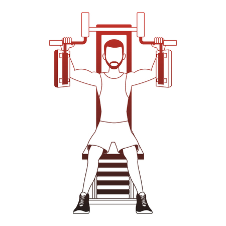 Fitness man on weight machine vector illustration graphic design