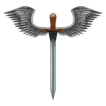 Arma spada con disegno grafico illustrazione vettoriale ali