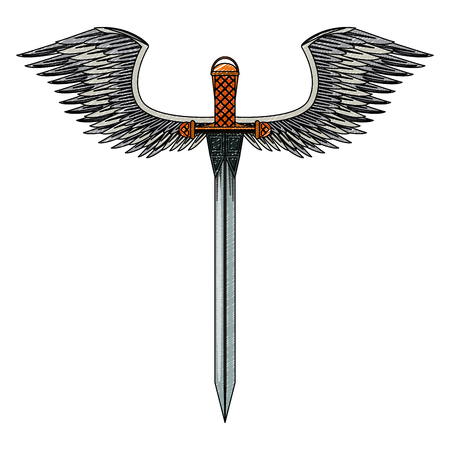 Sword weapon with wings vector illustration graphic design