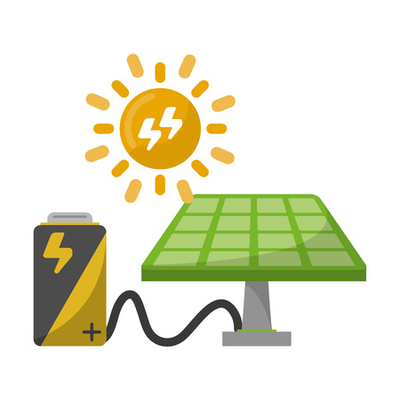 Green energy ecology solar panel with battery and sun vector illustration graphic design Ilustração