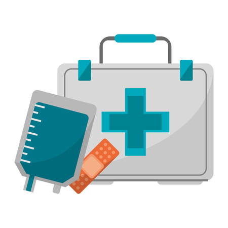 Medical and healthcare first aids bag and band aid vector illustration graphic design