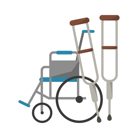 Medical and healthcare wheelchair and crutches vector illustration graphic design Illustration