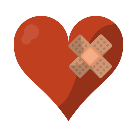 Heart with band aid symbol vector illustration graphic design