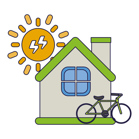 Green energy ecology house and bike with solar energy vector illustration graphic design