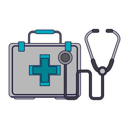 Medical and healthcare first aids suitcase and stethoscope vector illustration graphic design