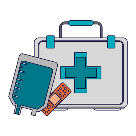 Medical and healthcare first aids bag and band aid vector illustration graphic design Stock Illustratie