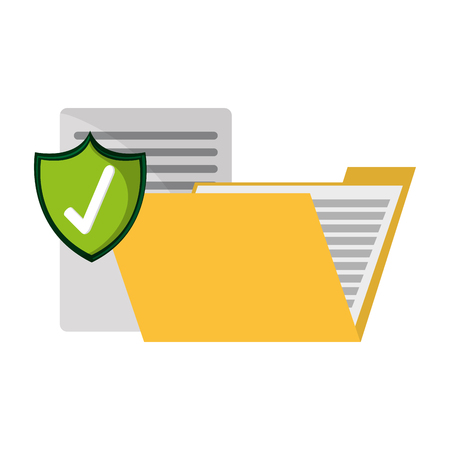 folder with documents protected vector illustration graphic design