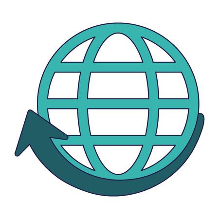 Global sphere with arrow symbol vector illustration graphic design Ilustración de vector