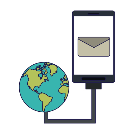 Smartphone email symbol and world network internet connection vector illustration graphic design