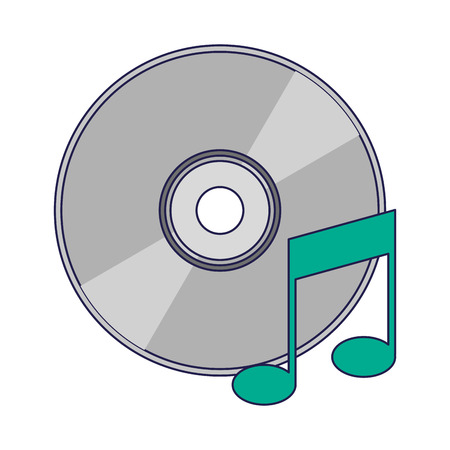 music cd rom with note symbol vector illustration graphic design