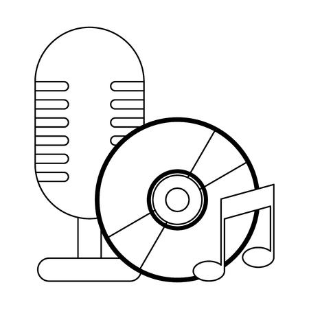 vintage microphone and music cd rom vector illustration graphic design Archivio Fotografico - 125914734