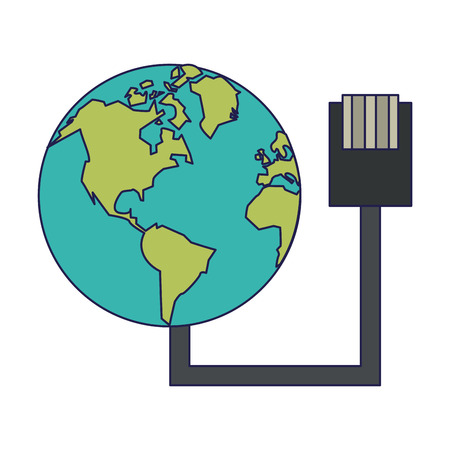 World with usb wire technology vector illustration graphic design