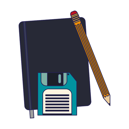 Business and office address book with pencil and diskette vector illustration graphic design