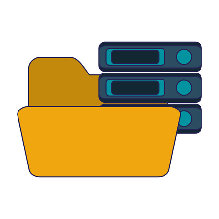 folder with servers database vector illustration graphic design