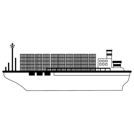 Freighter boat with containers vector illustration graphic design