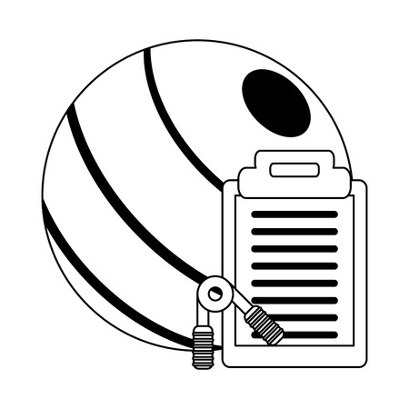 Fitness and healthy lifestyle ball clipboard and handgrip vector illustration graphic design