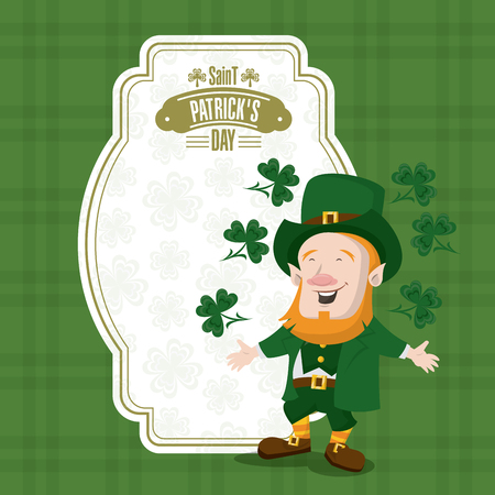 Saint patricks day card with elf cartoons vector illustration graphic design Illustration