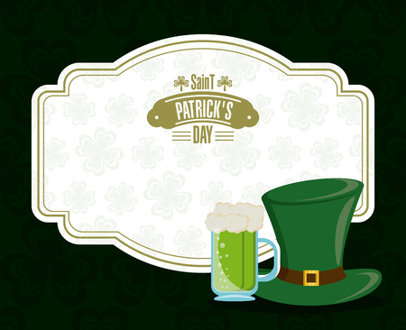 Saint patricks day card with cartoons vector illustration graphic design