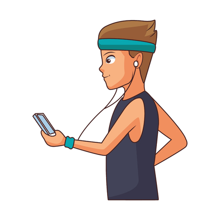 young man cartoon using smartphone device vector illustration graphic design