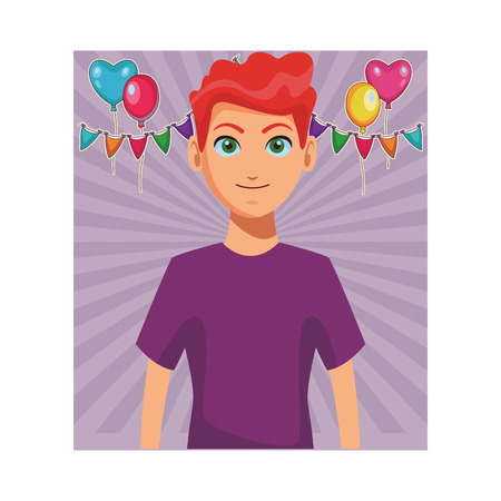 young man upperbody at party with balloons and confetti cartoon vector illustration graphic design