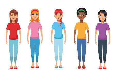 Diseño gráfico del ejemplo del vector de la historieta del cuerpo de las mujeres jóvenes