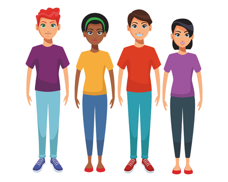 group of friends body cartoon vector illustration graphic design