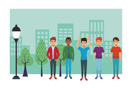 young men body at city park cartoon vector illustration graphic design