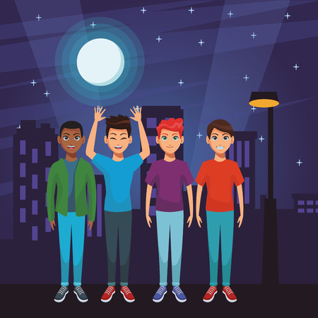 young men body in front city landscape at night cartoon vector illustration graphic design