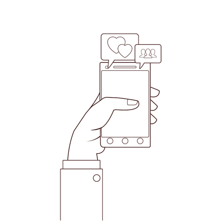 technology smartphone hand touching cartoon vector illustration graphic design