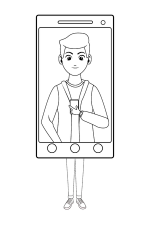 young man chatting inside smartphone device cartoon vector illustration graphic design