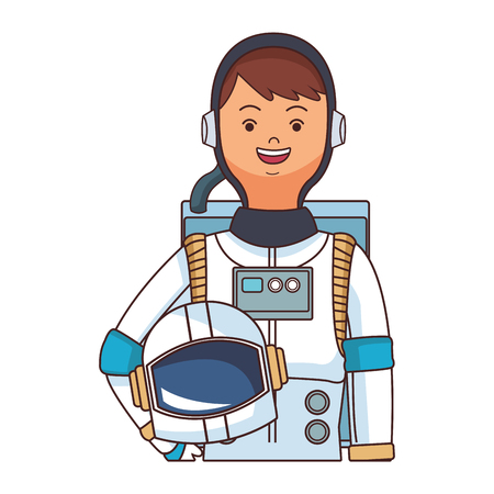 space astronaut upperbody cartoon vector illustration graphic design