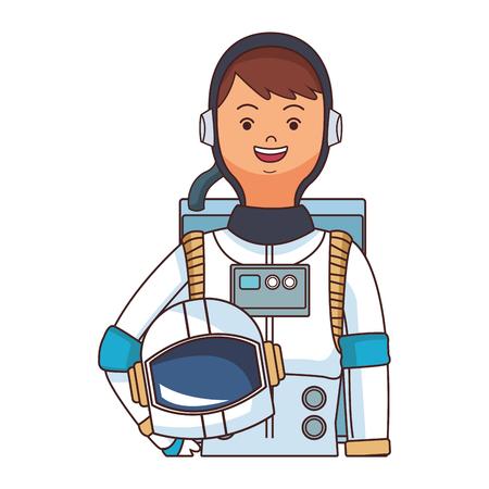 space astronaut upperbody cartoon vector illustration graphic design