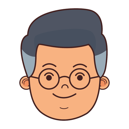 man face with glasses cartoon vector illustration graphic design