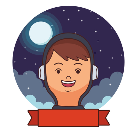 space astronaut face banner round icon at night cartoon vector illustration graphic design