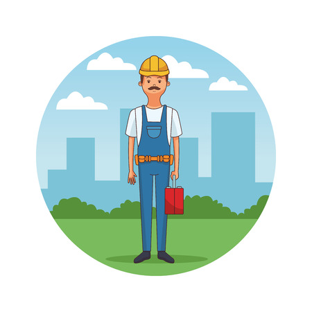 construction builder cartoon vector illustration graphic design