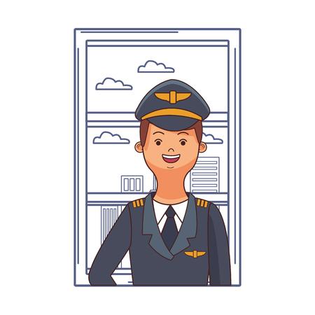 airplane pilot in front window cartoon vector illustration graphic design