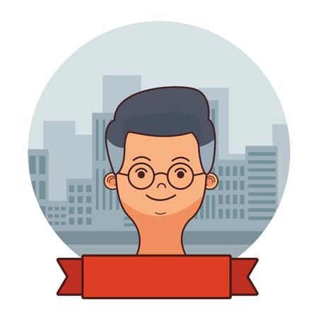 man face round icon banner cartoon vector illustration graphic design
