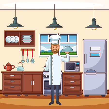 food chef at kitchen cartoon vector illustration graphic design
