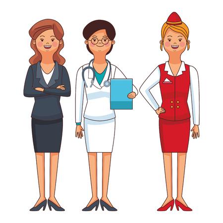 american labor day professional women cartoon vector illustration graphic design Vettoriali