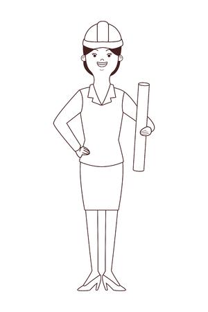 female architect avatar isolated vector illustration graphic design