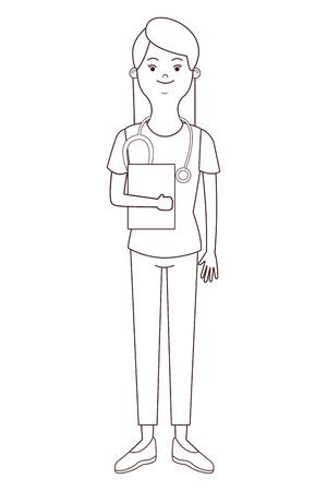 nurse isolated avatar with endoscope vector illustration graphic design Illustration