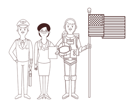 astronaut pilot and doctor avatar vector illustration graphic design