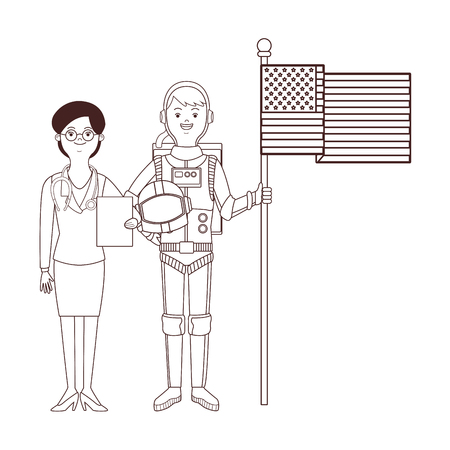 female doctor and astronaut with flag vector illustration graphic design